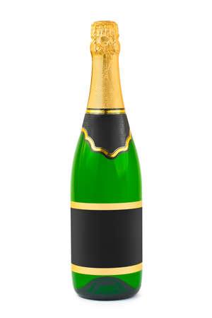botella champagne: Botella de champagne con etiqueta en blanco sobre fondo blanco aisladas