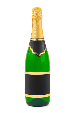 Champagne bottle with blank label isolated on white background photo
