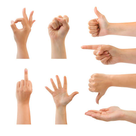 Set of gesturing hands isolated on white background Stock Photo - 4384672