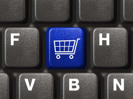 PC keyboard with shopping key Stock Photo - 4384681