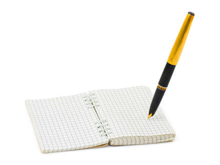 Pen and note pad isolated on white background photo