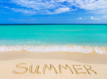 Word Summer on beach - vacation concept background Stock Photo - 4430377