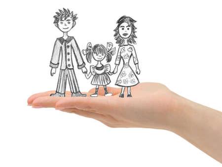 Gl�ckliche Familie in der Hand isoliert auf wei�em Hintergrund