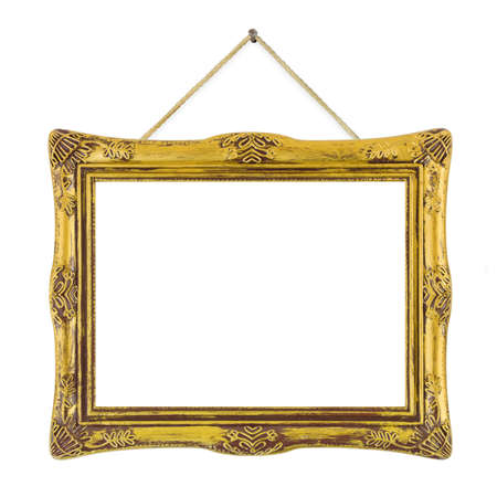 gold string: Retro frame at string isolated on white background