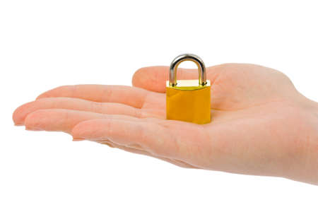 Hand and lock isolated on white background Stock Photo - 4430379