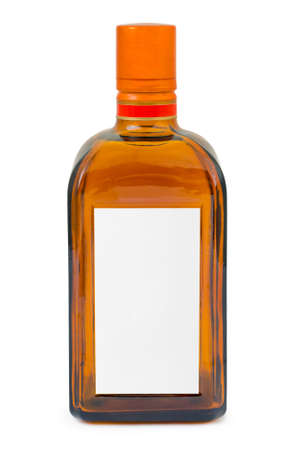 Bottle with blank label isolated on white background photo