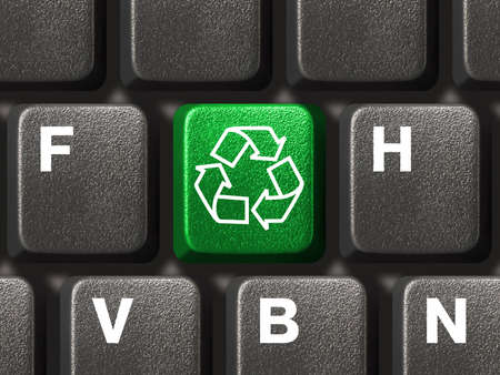 recycle symbol: Computer keyboard with recycling symbol, technology concept
