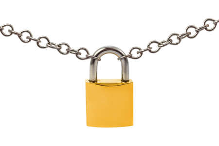 Lock and chain isolated on white background photo