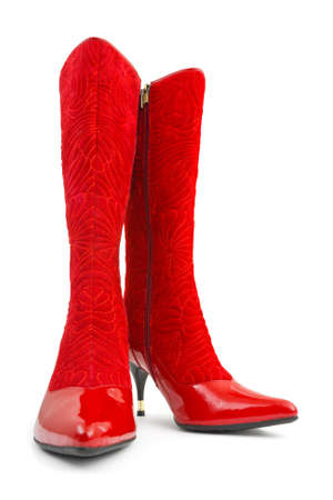 Red woman boots isolated on white background Stock Photo - 4470951
