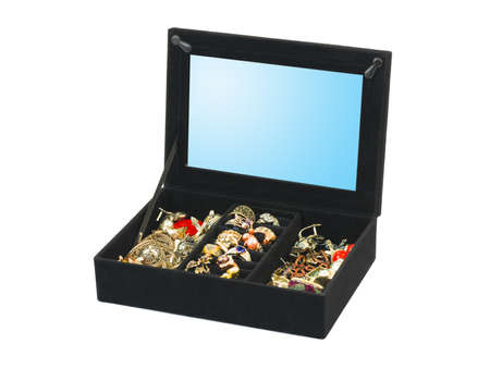 Jewelry in box isolated on white background Stock Photo - 4487312
