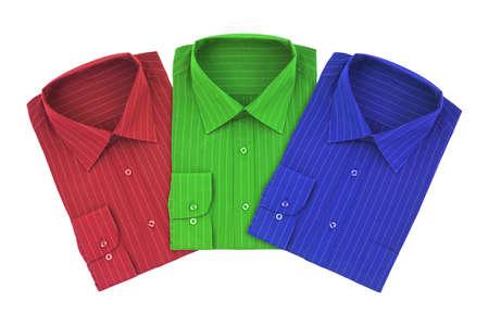 Multicolored shirts isolated on white background photo