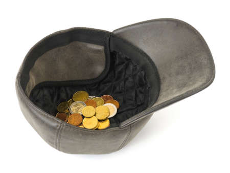 destitution: Hat with money isolated on white background Stock Photo