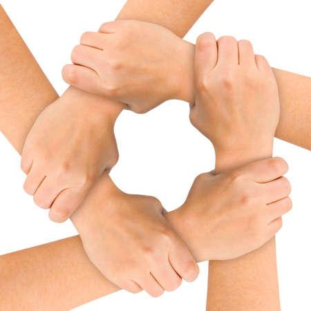 solidaridad: Unidos manos aisladas en fondo blanco
