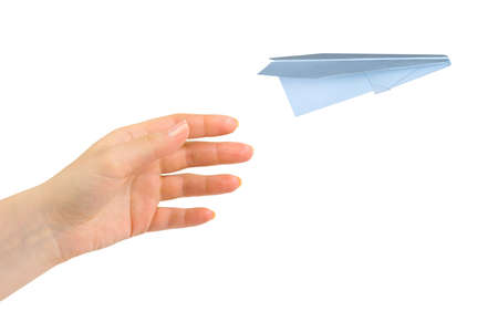 toy plane: Hand and flying money plane isolated on white background