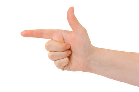 Pointing hand (or shooting) isolated on white background Stock Photo - 4554233