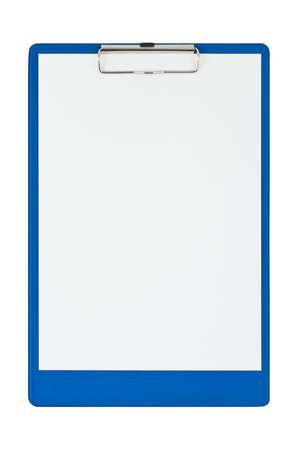 Zwischenablage und Papier isoliert auf wei�em Hintergrund