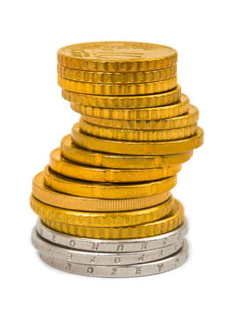 cuve: Stack of coins isolated on white background Stock Photo