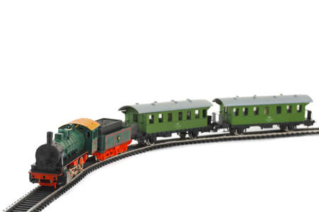Toy train isolated on white background photo