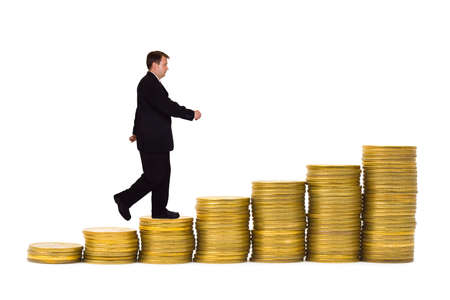 path to wealth: Businessman on money staircase isolated on white background