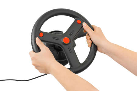 Computer steering wheel and hands isolated on white background photo