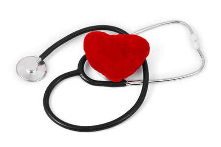 pulmology: Stethoscope and heart isolated on white background