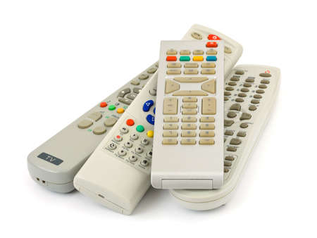 remote controls: TV remote controls isolated on white background