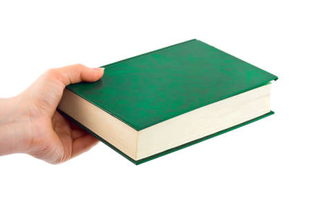 hands solution: Book in hand isolated on white background Stock Photo