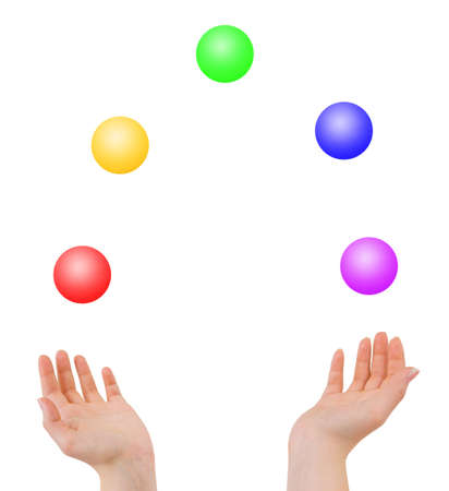 Juggling hands isolated on white background
