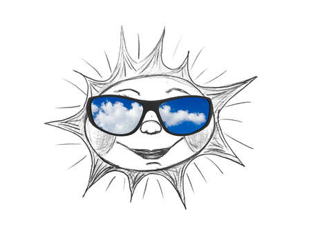 Drawing sun (my artwork) and sunglasses isolated on white background photo