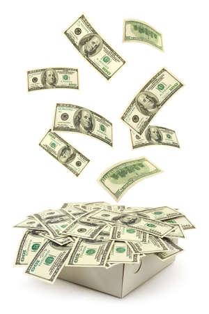 Box and falling money isolated on white background photo