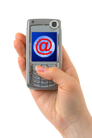 Mobile phone in hand isolated on white background Stock Photo - 4681446