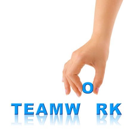 Hand and word Teamwork - business concept, isolated on white background Stock Photo - 4681443