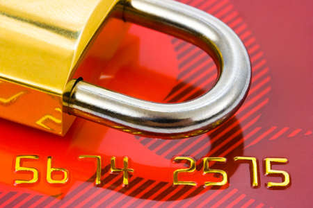 key card: Lock and credit card - business security background