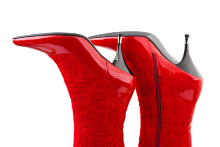 Red woman boots isolated on white background Stock Photo - 4696947