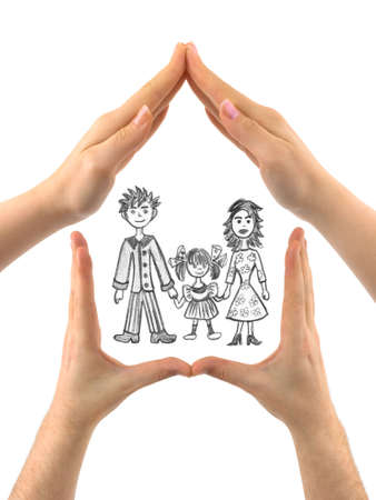 Family in house made of hands isolated on white background photo