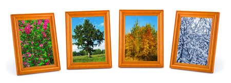 Four seasons (my photos) isolated on white background photo