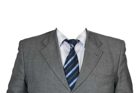 mannequin head: Gray suit isolated on white background Stock Photo