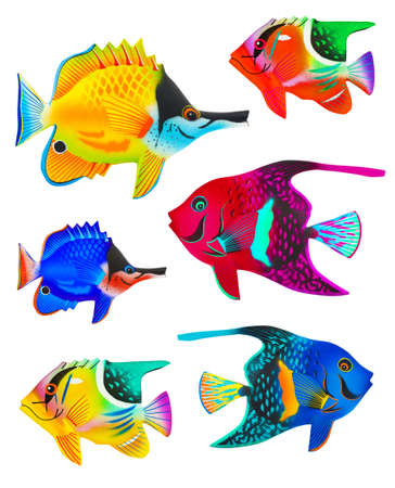 Set of toy fishes isolated on white background photo