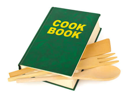 guidebook: Cookbook and kitchenware isolated on white background