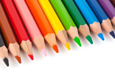 Multicolored pencils isolated on white background photo