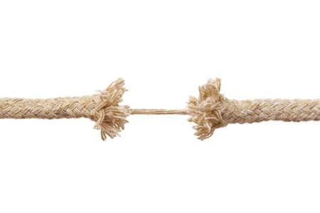 Breaking Seil isoliert auf wei�em Hintergrund Lizenzfreie Bilder