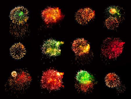 Fireworks isolated on black background photo