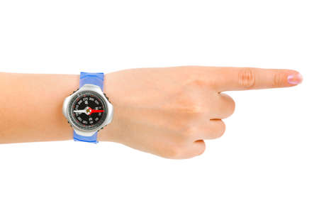Pointing hand and compass isolated on white background Stock Photo - 4862990