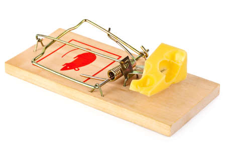 Mousetrap and cheese isolated on white background photo