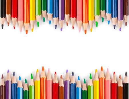 lapices: L�pices multicolores aisladas sobre fondo blanco