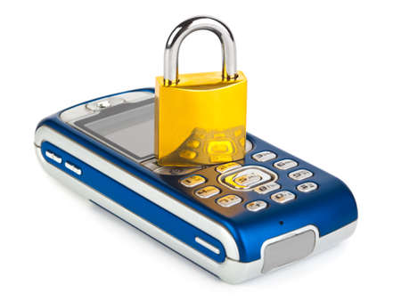 Mobile phone and lock isolated on white background photo