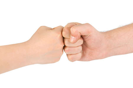 salutation: Two fists isolated on white background Stock Photo