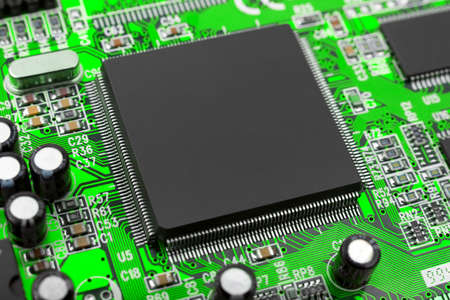 Macro of computer chip - technology background Stock Photo