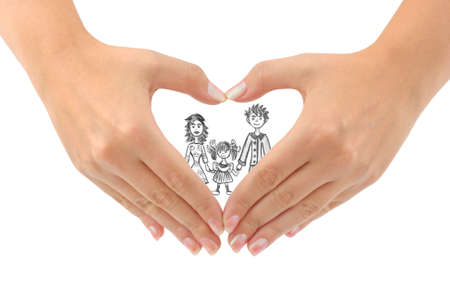 Family and heart made of hands isolated on white background photo