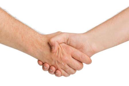 respeto: Apret�n de manos manos aisladas en fondo blanco Foto de archivo